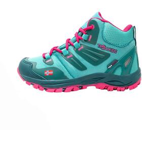 TROLLKIDS Rondane Hiker Botas Corte Medio Niños, verde/rosa